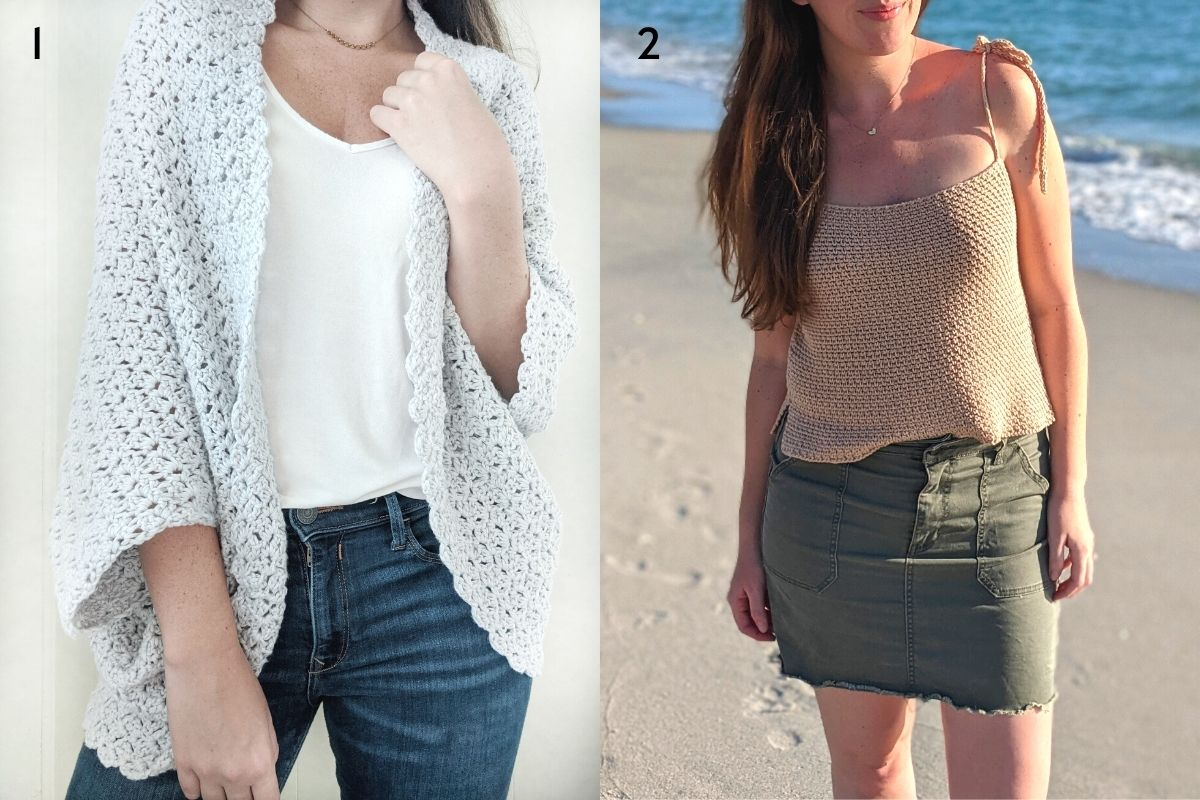 picture is showing model wearing the free blanket shrug pattern and the seaside crochet tank top pattern.
