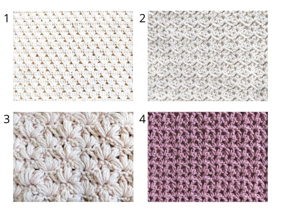 4 different crochet stitch tutorials