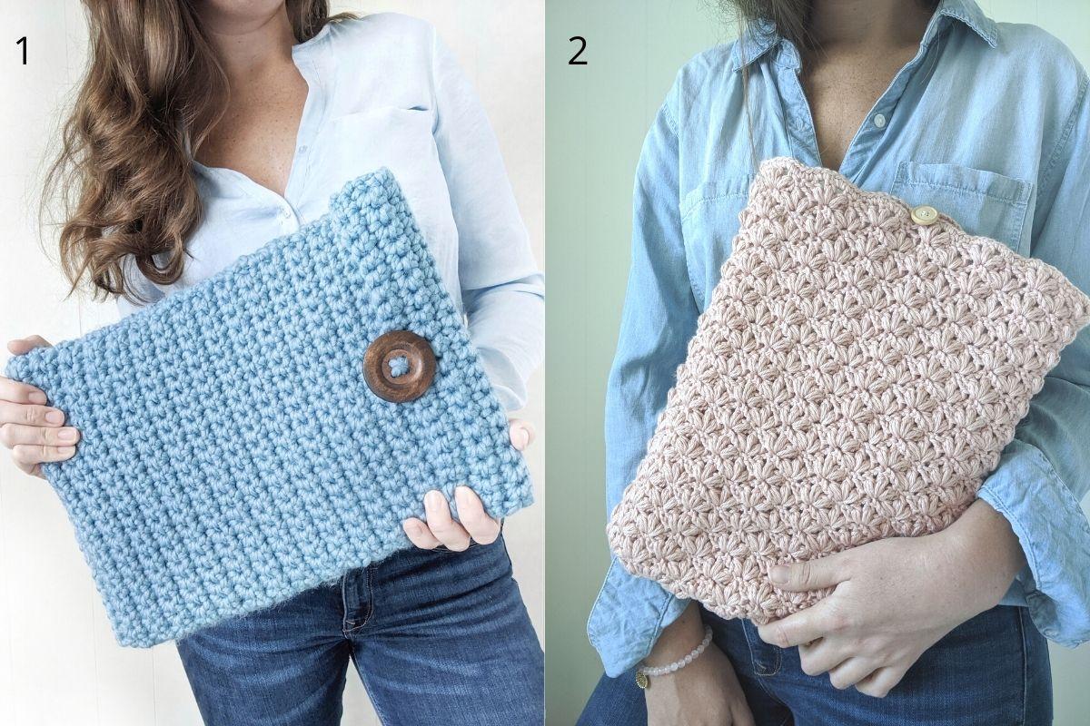girl holding 2 crochet laptop covers in her hand