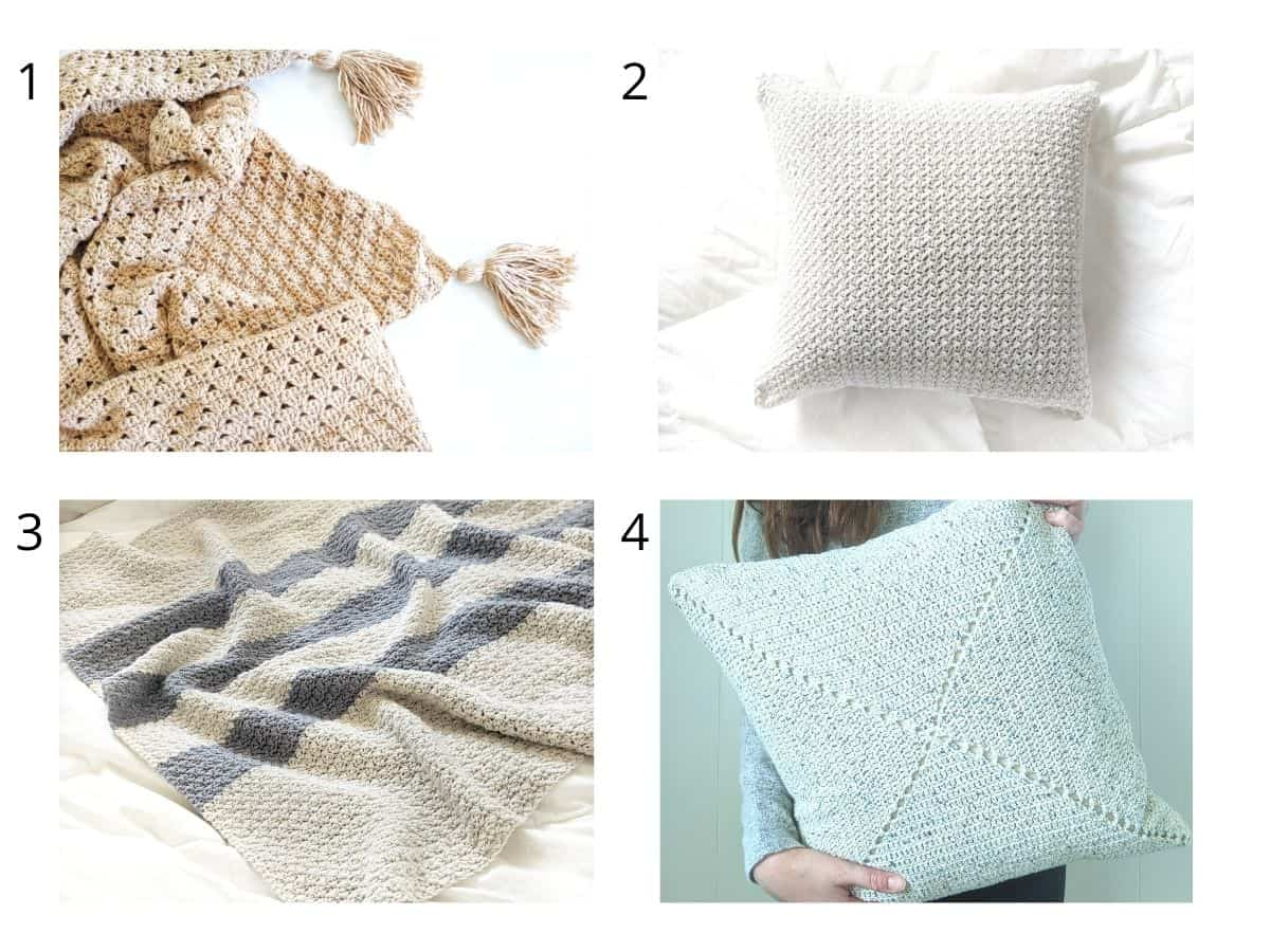 4 different free crochet patterns that include 2 crochet blankets and 2 crochet pillows