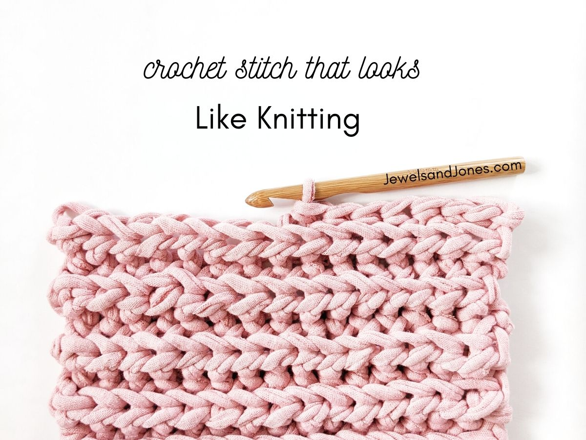 a swatch of a stitch with a wooden crochet hook