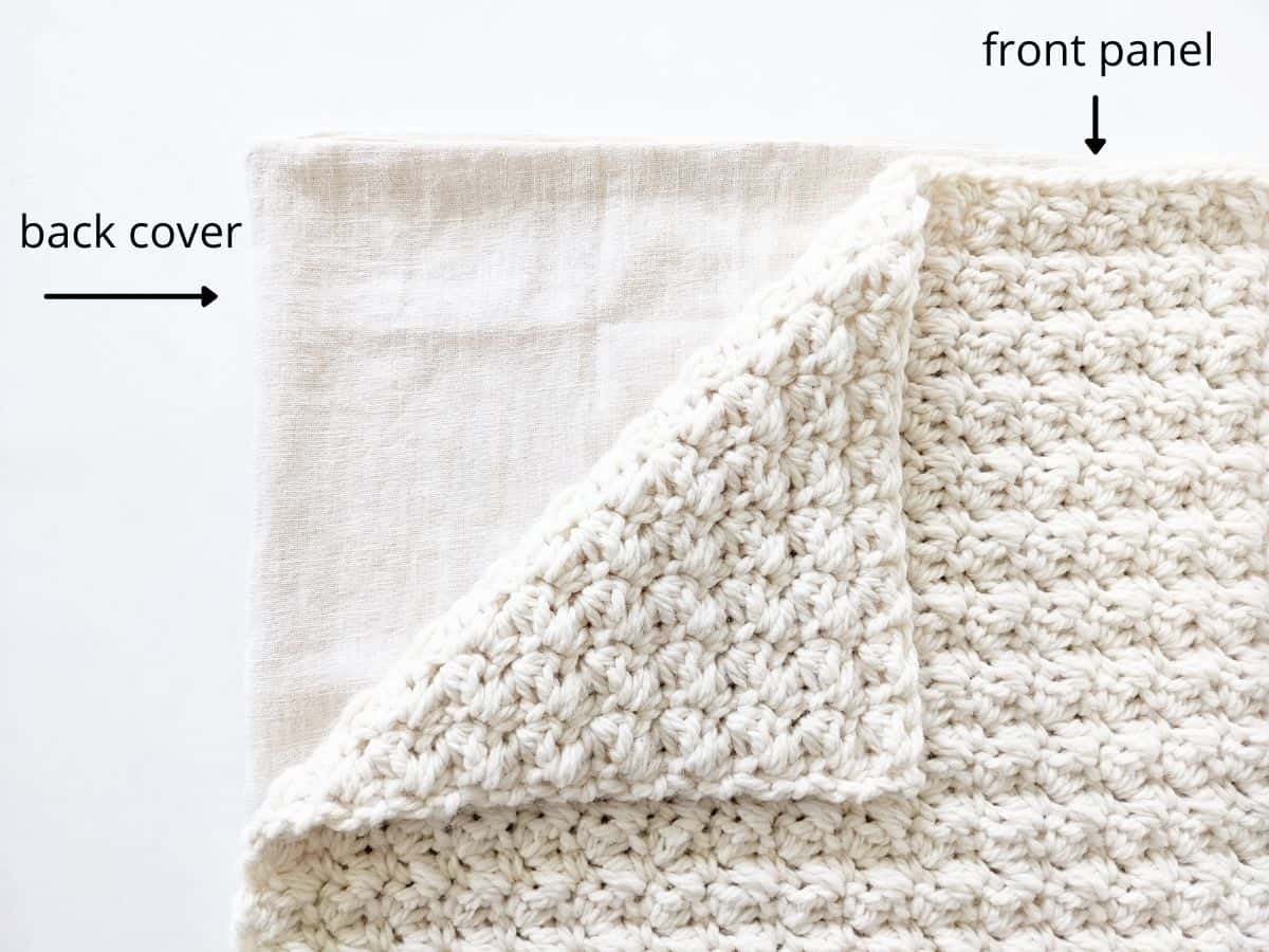 the front and back cover panels of a crochet pillow