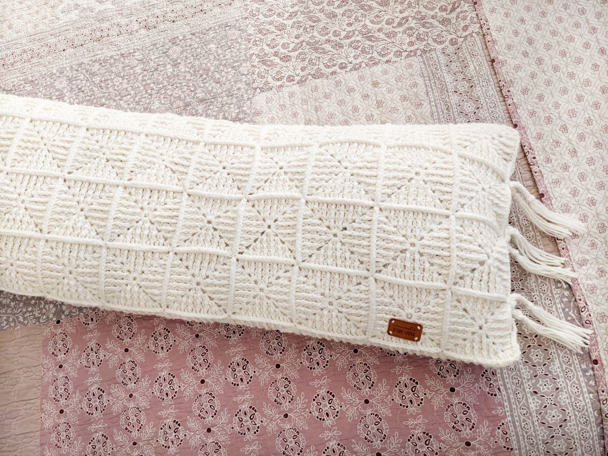 granny square crochet pillow with fringe
