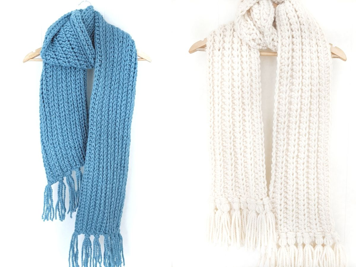 free chunky crochet scarf patterns in the color fisherman and blue