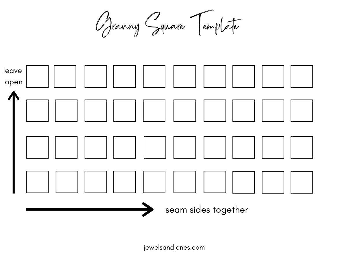 a template to sewing your granny squares together