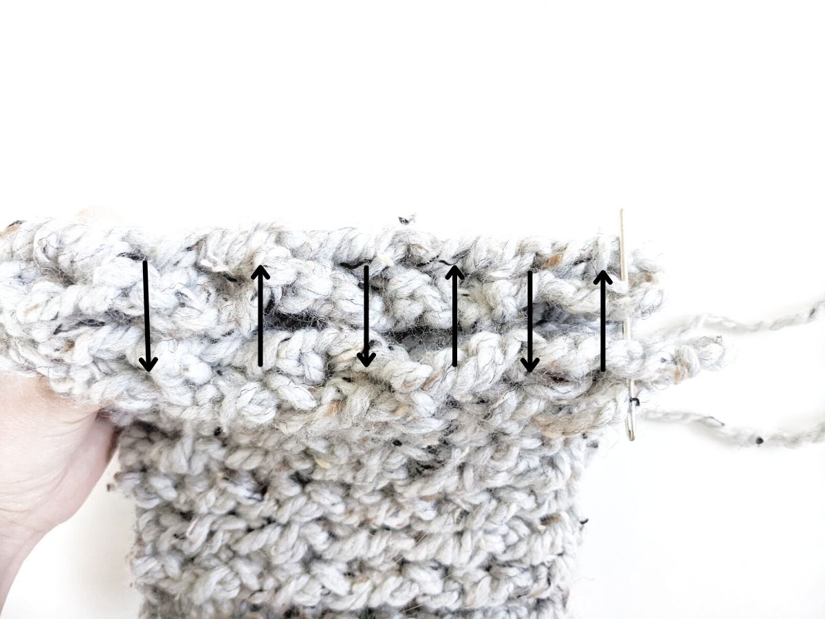 how to whipstitch your cowl together