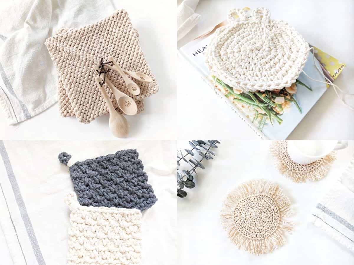 4 free crochet home decor patterns: potholder, hotpad, and 2 different coasters.