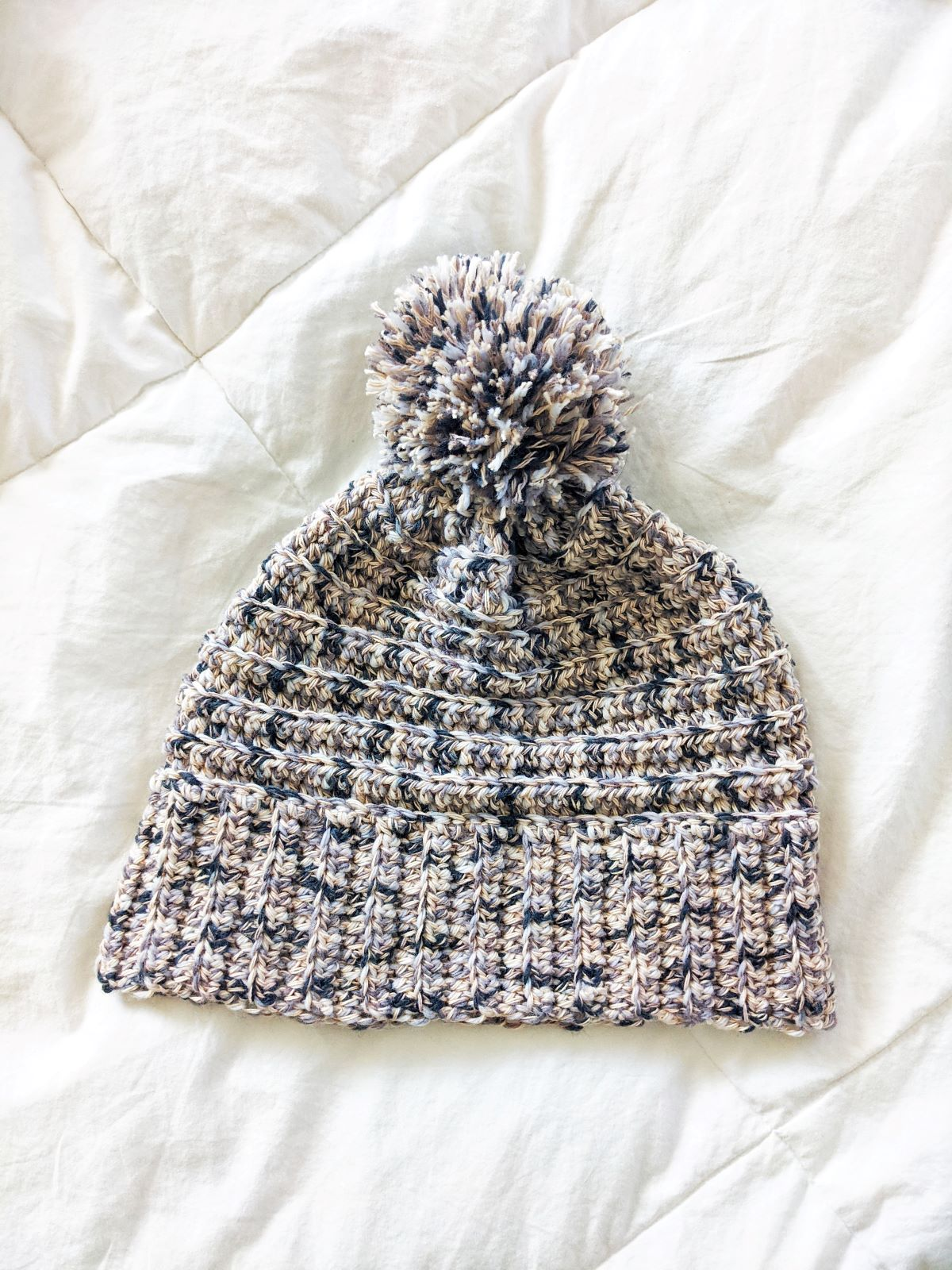 slouchy crochet cotton beanie on white background