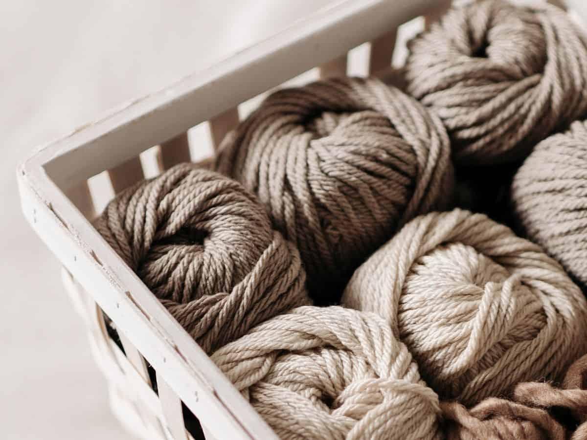 a box of brown yarn
