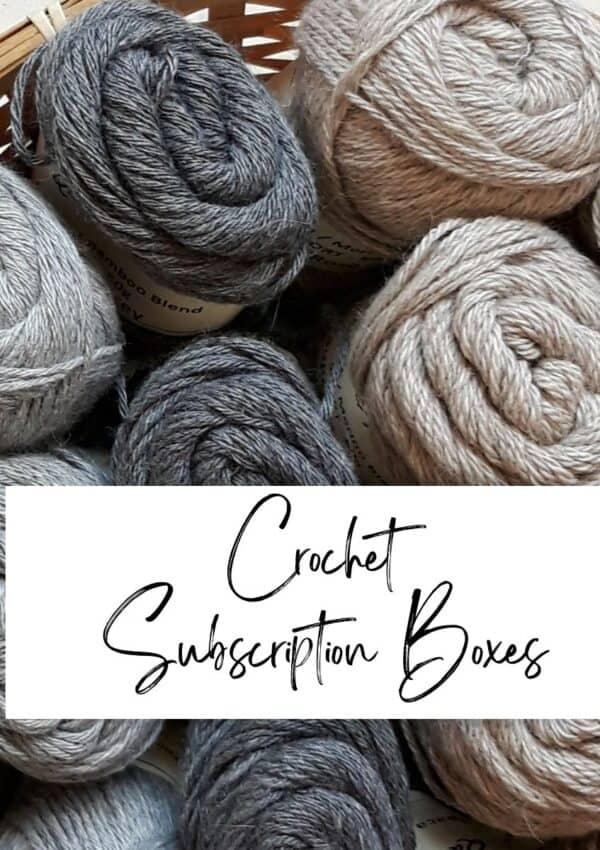 a box full of yarn for a crochet subscription box
