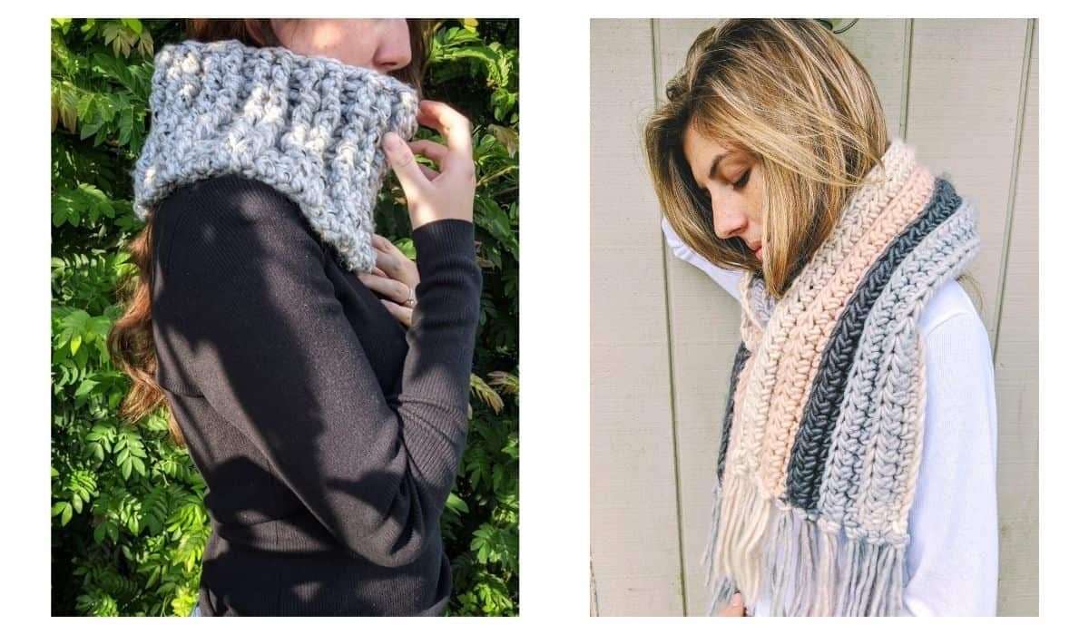 model is wearing a chunky crochet cowl and chunky crochet scarf