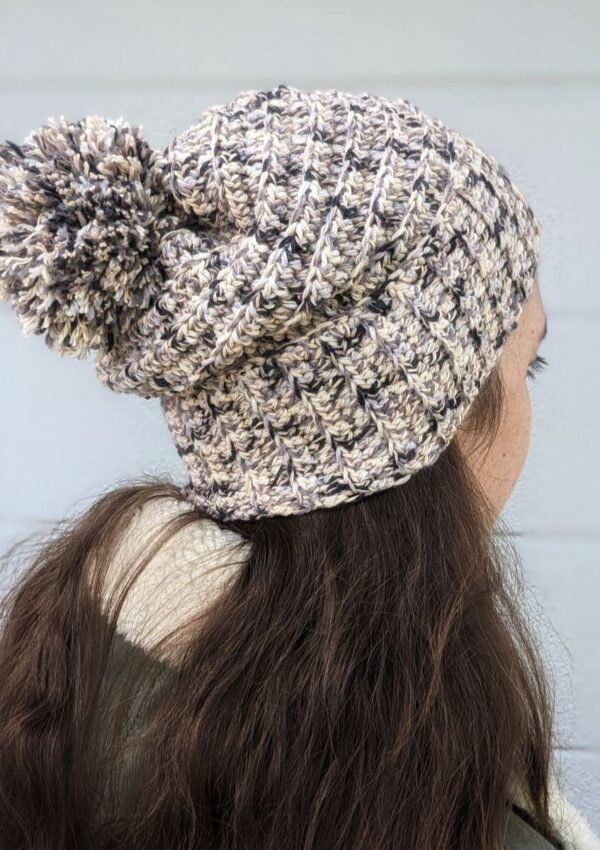 easy free cotton crochet slouchy beanie pattern made