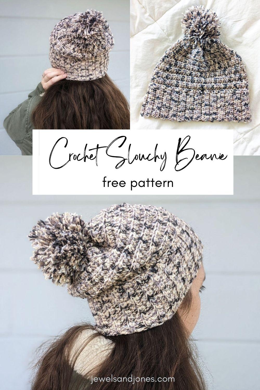 model is wearing a cotton crochet beanie